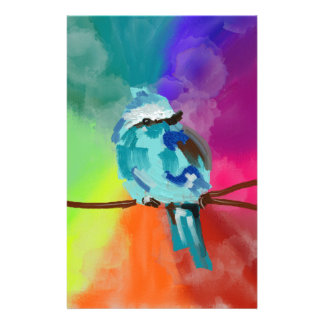 Rainbow Bird Print Personalized Stationery