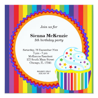 "Rainbow Birthday 5.25"" Square Invitation Card"