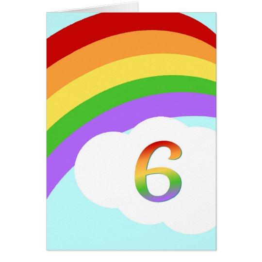 Rainbow Birthday Card For 6 Year Old