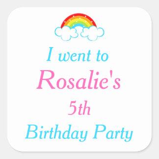 Rainbow Birthday Party 'I went to' Square Sticker