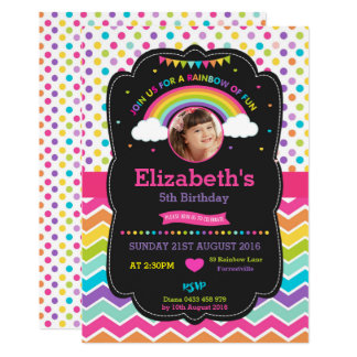Rainbow Birthday Party Invitation Card Photo