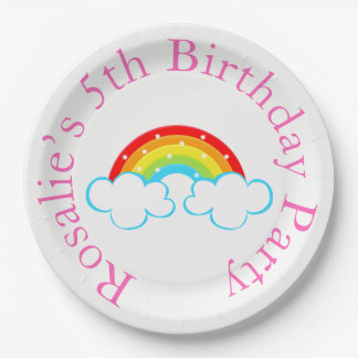 Rainbow Birthday Party Paper Plate