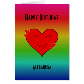 Rainbow birthday smiley custom text card