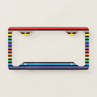 Rainbow, Black and White Stripes License Plate Frame
