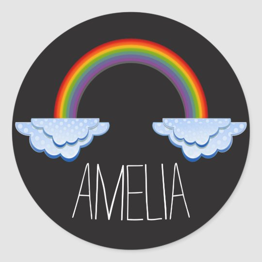Rainbow Black Background Name Sticker