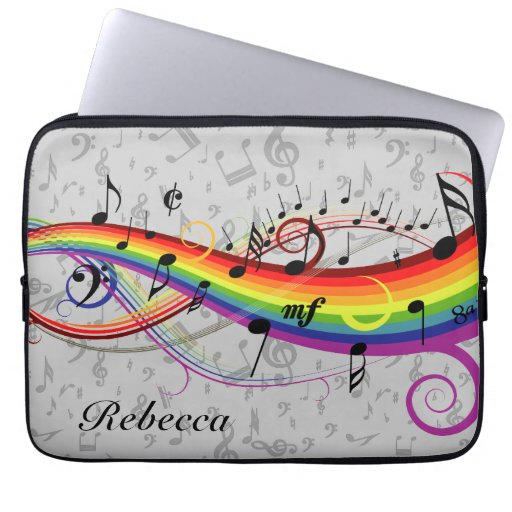 Rainbow Black Musical Notes on Gray Laptop Computer Sleeves