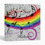 Rainbow Black Musical Notes on Grey Vinyl Binder