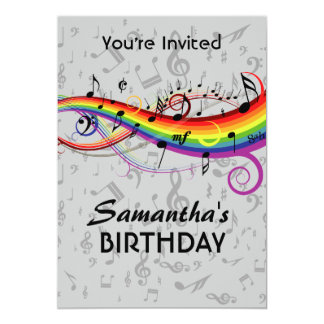 Rainbow Blck Music Notes  Birthday Party Card
