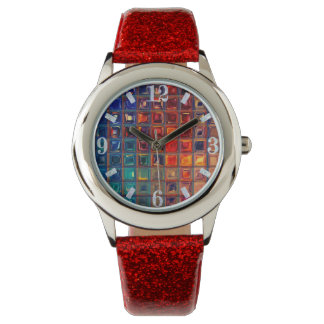 Rainbow Bling | Colorful Mosaic Tile Primary Color Wristwatch