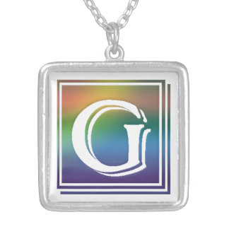 RAINBOW BLOCK LETTER G SILVER PLATED NECKLACE