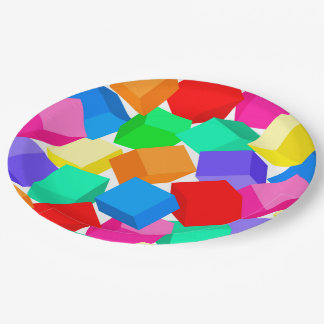 Rainbow blocks 9 inch paper plate