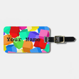 Rainbow blocks luggage tag