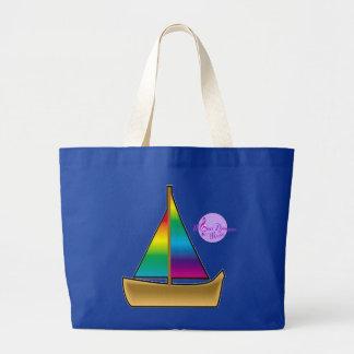 Rainbow Boat Royal Blue Jumbo Beach Tote Jumbo Tote Bag