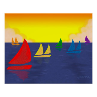 Rainbow Boats Smooth Sailing Poster