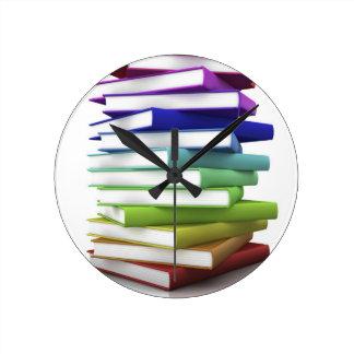 Rainbow Books Round Clock