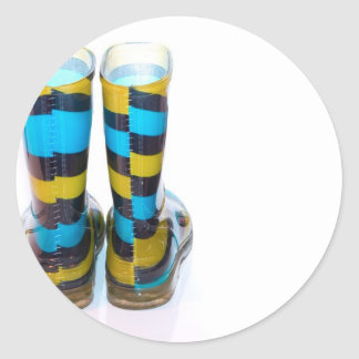 Rainbow Boots Classic Round Sticker