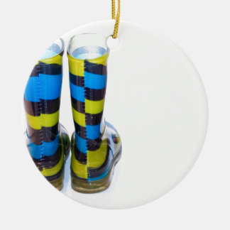 Rainbow Boots Round Ceramic Ornament