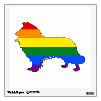 Rainbow Border Collie Wall Sticker