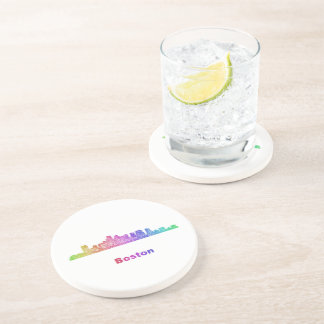 Rainbow Boston skyline Beverage Coasters