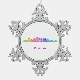 Rainbow Boston skyline Snowflake Pewter Christmas Ornament