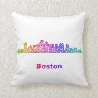 Rainbow Boston skyline Throw Pillow