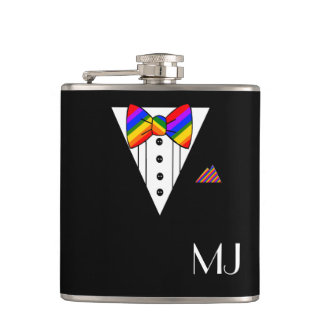 Rainbow Bow Tie Black Tuxedo Monogrammed Hip Flask