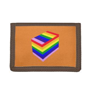 rainbow box Brown TriFold Nylon Wallet