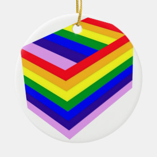 RAINBOW BOX PRIDE ROUND CERAMIC ORNAMENT