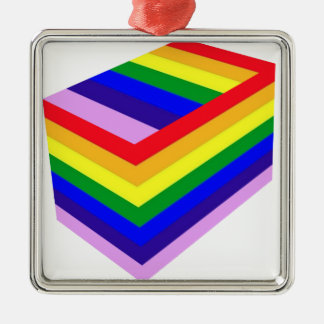 RAINBOW BOX PRIDE Silver-Colored SQUARE ORNAMENT