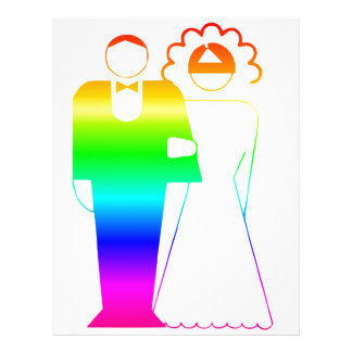 Rainbow Bride And Groom 2 Personalized Letterhead