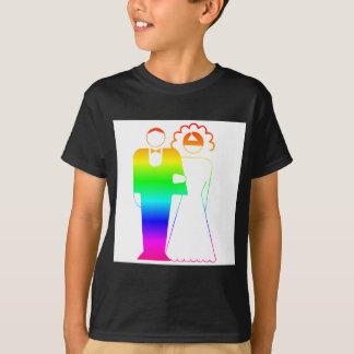 Rainbow Bride And Groom 2 Tees