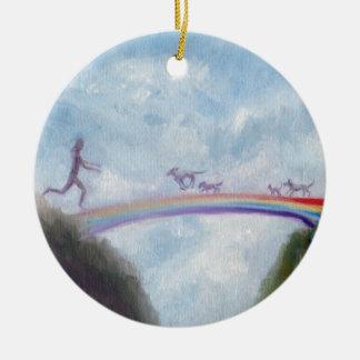 Rainbow Bridge Dog Cat Puppy Kitten Heaven Violano Round Ceramic Ornament