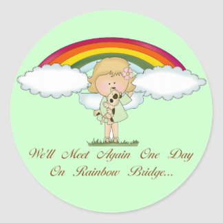 Rainbow Bridge (dog) Round Sticker