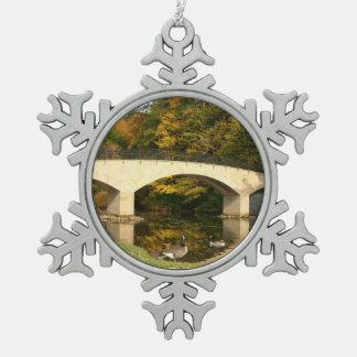 Rainbow Bridge in Fall at Grove City College Snowflake Pewter Christmas Ornament