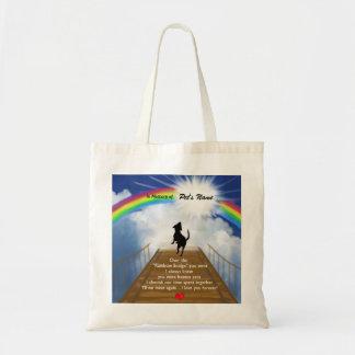 Rainbow Bridge Memorial Poem for Dogs Tote Bag