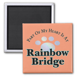 Rainbow Bridge Paw Square Magnet
