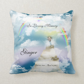 Rainbow Bridge Pet Goat Memorial Throw Pillow