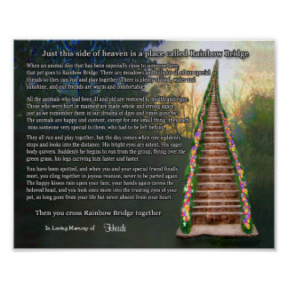 Rainbow Bridge Pet Loss Personalized Wall Print
