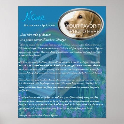 Rainbow Bridge Pet Memorial - Blue Posters