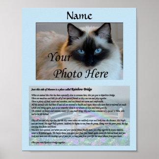 Rainbow Bridge Pet Memorial Blue Poster