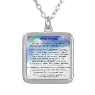 Rainbow Bridge Poem Silver Plated Necklace