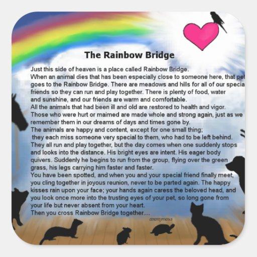Rainbow Bridge Poem Square Stickers