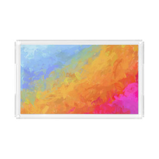 Rainbow bright colorful gradient pattern acrylic tray