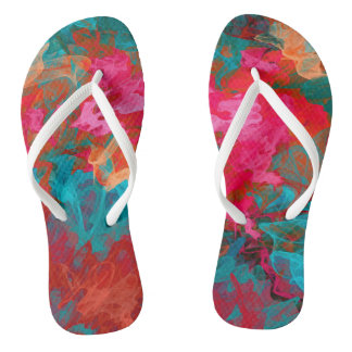 Rainbow bright colorful gradient pattern flip flops