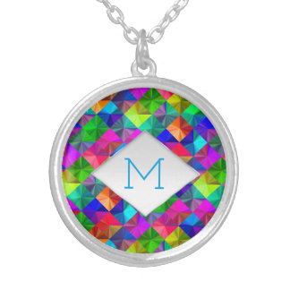Rainbow bright neon colorful pattern monogram silver plated necklace