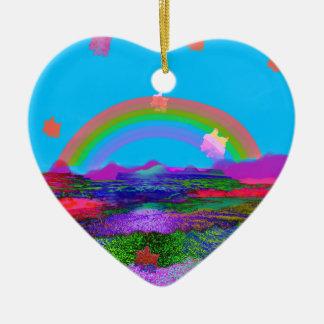 Rainbow brings diversity ceramic ornament