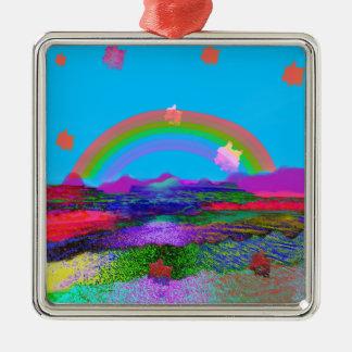 Rainbow brings diversity metal ornament