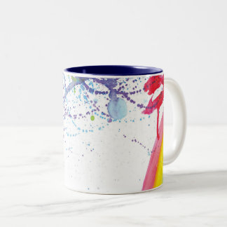 Rainbow brush strokes with a splash of paint Two-Tone coffee mug