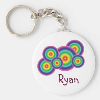 Rainbow Bubble Name Tag Key Chain