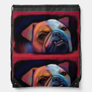 Rainbow Bulldog Drawstring Bag